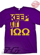 Keep It 100 T-Shirt (Omega), Purple - EMBROIDERED with Lifetime Guarantee
