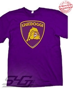 Quedoggi Lambourghini-Style Logo, Purple T-Shirt - EMBROIDERED with Lifetime Guarantee