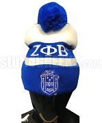 Zeta Phi Beta Pom-Pom Beanie Hat with Organization Name (SAV)
