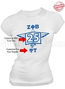 Zeta Phi Beta Anniversary T-Shirt, White - EMBROIDERED with Lifetime Guarantee