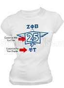 Zeta Phi Beta Screen Printed Anniversary T-Shirt, White
