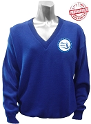 Zeta Phi Beta V-Neck Sweater with New Crest, Royal Blue