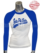 Zeta Phi Beta For Life Raglan T-Shirt, White/Royal Blue - EMBROIDERED with Lifetime Guarantee