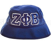 Zeta Phi Beta Floppy Bucket Hat with Greek Letters, Navy Blue (SAV)