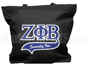 Zeta Phi Beta Letter Tote Bag with Tail Patch, Black (NS)