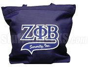 Zeta Phi Beta Letter Tote Bag with Tail Patch, Navy Blue (NS)