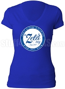 Zeta Phi Beta Way Scoop V-Neck Shirt, Royal Blue (AB)