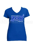 Zeta Phi Beta 2018 Boule Mardi Gras Mask Screen Printed V-Neck T-Shirt, Royal