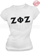 Zeta Phi Zeta Ladies Greek Letter T-Shirt, White - EMBROIDERED with Lifetime Guarantee