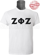 Zeta Phi Zeta Men's Greek Letter T-Shirt, White - EMBROIDERED with Lifetime Guarantee