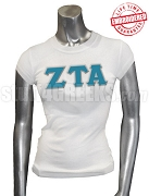 Zeta Tau Alpha Greek Letter T-Shirt, White - EMBROIDERED with Lifetime Guarantee