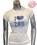 I Love Z Phi B Ladies Tee, White - EMBROIDERED with Lifetime Guarantee