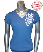Zeta Fancy Crest V-Neck T-Shirt, Royal - EMBROIDERED with Lifetime Guarantee