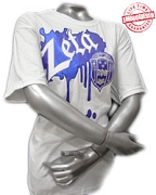 Zeta Metallic Vintage T-Shirt, White - EMBROIDERED with Lifetime Guarantee