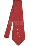 Alpha Pi Lambda Necktie with Logo Greek Letters, Red