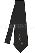 Lambda Omicron Delta Necktie with Logo Greek Letters, Black