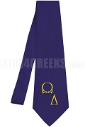 Omega Delta Necktie with Logo Greek Letters, Navy Blue