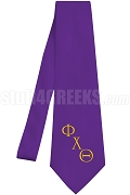 Phi Chi Theta Necktie with Logo Greek Letters, Purple