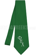 Phi Eta Chi Necktie with Logo Greek Letters, Kelly Green