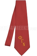 Phi Gamma Nu Necktie with Greek Letters, Red