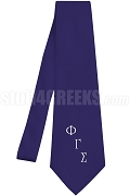Phi Gamma Sigma Necktie with Logo Greek Letters, Navy Blue