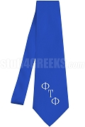 Phi Tau Phi Necktie with Greek Letters, Royal Blue