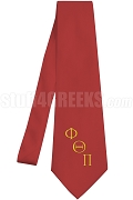 Phi Theta Pi Necktie with Greek Letters, Red