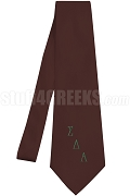 Sigma Delta Alpha Necktie with Logo Greek Letters, Burgundy