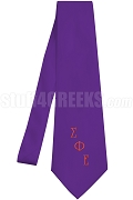 Sigma Phi Epsilon Necktie with Logo Greek Letters, Purple