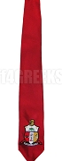 Kappa Alpha Psi Necktie with Embroidered Crest, Red