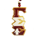 Gamma Sigma Sigma Greek Letter Tiki Necklace with Penguin