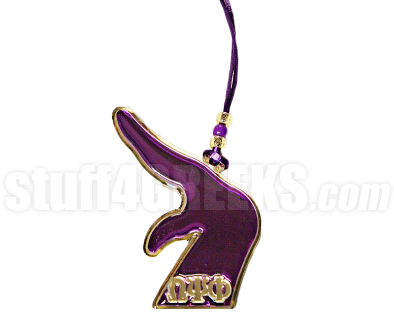 Omega Psi Phi Que Hand Tiki Necklace With Greek Letters