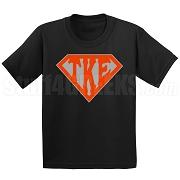 Tau Kappa Epsilon Screen Printed T-Shirt with Letters Inside Superman Shield, Black