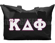 alpha Kappa Delta Phi Tote Bag with Greek Letters, Black