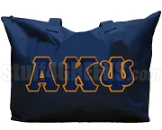 Alpha Kappa Psi Tote Bag with Greek Letters, Navy Blue