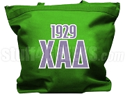 Chi Alpha Delta Tote Bag with Greek Letters and Founding Year, Kelly Green
