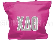 Chi Delta Theta Tote Bag with Greek Letters, Hot Pink