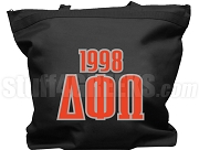 Delta Phi Omega Tote Bag with Greek Letters and Founding Year, Black