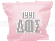Delta Phi Sigma Greek Letter Tote Bag with Founding Year, Pink