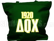 Delta Theta Chi Tote Bag with Greek Letters and Founding Year, Forest Green
