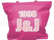 Jack & Jill Tote Bag with Greek Letters and Founding Year, Pink