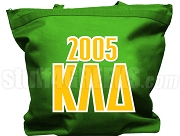 Kappa Lambda Delta Tote Bag with Greek Letters and Founding Year, Kelly Green