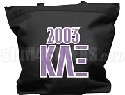 Kappa Lambda Xi Tote Bag with Greek Letters and Founding Year, Black