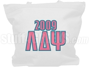 Lambda Delta Psi Tote Bag with Greek Letters and Founding Year, White