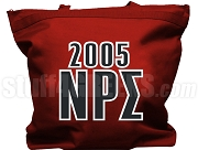 Nu Rho Sigma Tote Bag with Greek Letters and Founding Year, Crimson