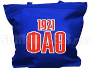 Phi Alpha Theta Tote Bag with Greek Letters and Founding Year, Royal Blue