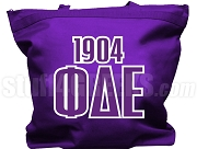 Phi Delta Epsilon Tote Bag with Greek Letters and Founding Year, Purple