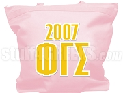 Phi Gamma Sigma Tote Bag with Greek Letters and Founding Year, Pink