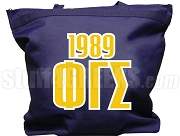 Phi Gamma Sigma Tote Bag with Greek Letters and Founding Year, Navy Blue