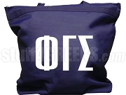 Phi Gamma Sigma Tote Bag with Greek Letters, Navy Blue